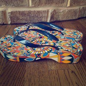 Tory Burch navy/psychedelic geo wedge flip flop